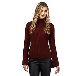 H! by Henry Holland - Burgundy bell sleeve roll neck jumper