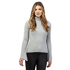 H! by Henry Holland - Grey bell sleeve roll neck jumper