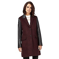 H! by Henry Holland - Dark red PU sleeve coat