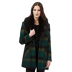 H! by Henry Holland - Dark green ombre checked coat