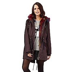 H! by Henry Holland - Dark red waxed mixed faux fur hood parka