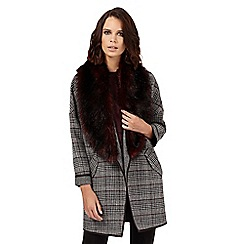 H! by Henry Holland - Grey faux fur collar blanket coat