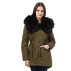 H! by Henry Holland - Khaki faux fur parka jacket