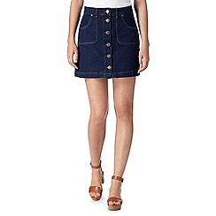H! by Henry Holland - Designer blue button through denim skirt