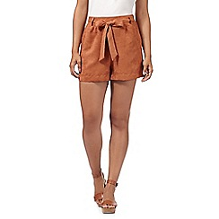H! by Henry Holland - Designer tan suedette shorts