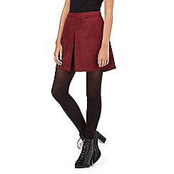 H! by Henry Holland - Dark red pleated suedette skirt
