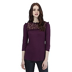 H! by Henry Holland - Dark purple lace yoke top