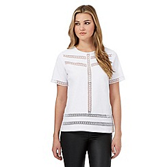 H! by Henry Holland - White chevron lace insert top