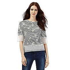 H! by Henry Holland - Ivory lace daisy striped top