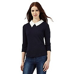 H! by Henry Holland - Navy contrast collar textured top