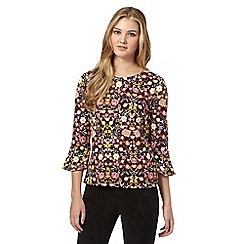 H! by Henry Holland - Purple floral flared sleeve top
