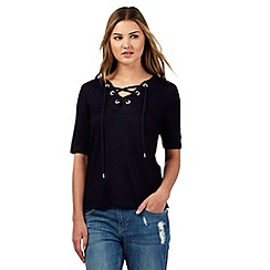 H! by Henry Holland - Navy eyelet neck t-shirt