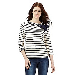 H! by Henry Holland - Ivory striped eyelet bow top
