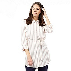 H! by Henry Holland - Ivory striped belted shirt