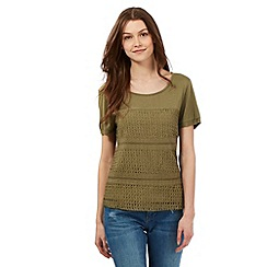 H! by Henry Holland - Khaki crochet lace top