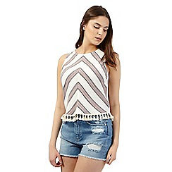 H! by Henry Holland - Ivory chevron striped print top