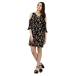 H! by Henry Holland - Black floral print cold shoulder dress