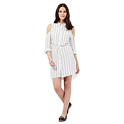 H! by Henry Holland - Ivory white striped print shirt dress