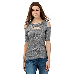 H! by Henry Holland - Grey ribbed cut-out should and chest top