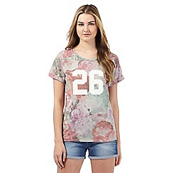 H! by Henry Holland - Multi-coloured floral print '26' applique t-shirt