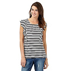 H! by Henry Holland - Black and ivory perforated striped print ruffle top