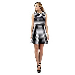 H! by Henry Holland - Navy Peter Pan collar striped dress