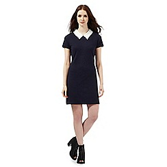 H! by Henry Holland - Navy contrast collar textured dress