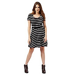 H! by Henry Holland - Black striped print bow applique dress
