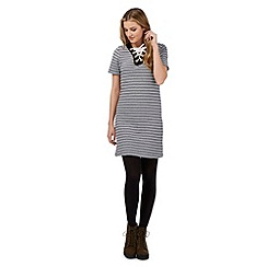 H! by Henry Holland - Black textured stripe eyelet neck dress