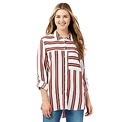 H! by Henry Holland - Ivory striped long line shirt
