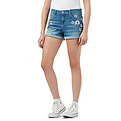 H! by Henry Holland - Blue daisy print distressed denim shorts