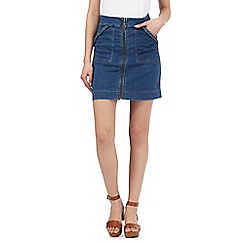 H! by Henry Holland - Blue zipped denim mini skirt