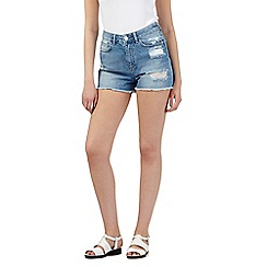 H! by Henry Holland - Blue ripped high waisted denim shorts