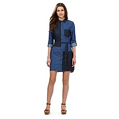 H! by Henry Holland - Blue denim patchwork denim shirt dress