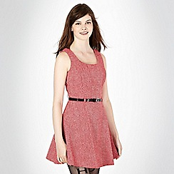 H! by Henry Holland - Designer dark red tweed skater dress
