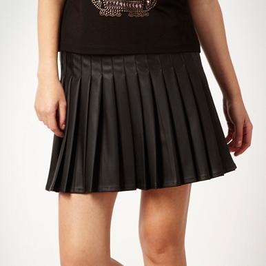 black faux leather pleated skater skirt debenhams
