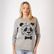 Grey aztec panda glitter sweater