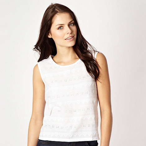 H! by Henry Holland - Designer white heart broderie top
