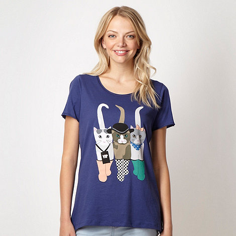 H! by Henry Holland - Designer dark blue festival cats t-shirt
