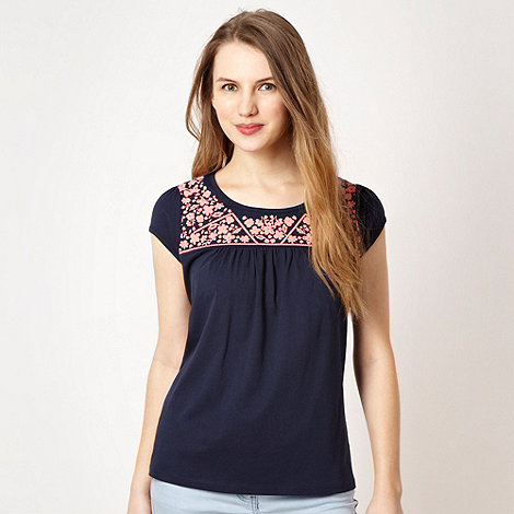 H! by Henry Holland - Designer navy embroidered smock top