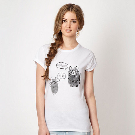 H! by Henry Holland - Designer white finger print cat and mouse t-shirt