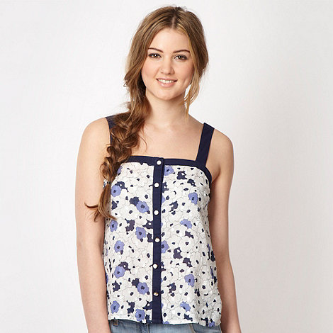 H! by Henry Holland - Designer blue pansy voile top