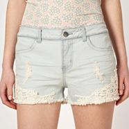 Designer blue lace shorts