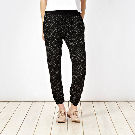 H! by Henry Holland - Black square print harem trousers