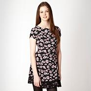 Designer black 'Winter Daisy' day dress