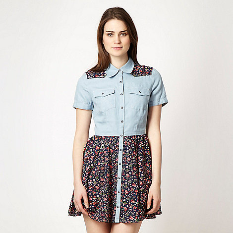 H! by Henry Holland - Blue floral and denim shirtdress