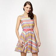 Designer grey neon striped skater dress