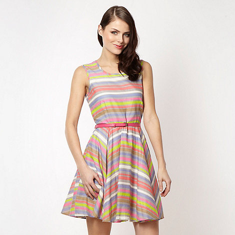 H! by Henry Holland - Designer grey neon striped skater dress