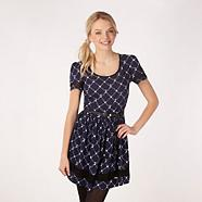 Designer navy cowboy print dress