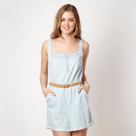 H! by Henry Holland - Designer light blue chambray and lace playsuit
